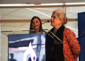Arzameen Moini Chawla speaks at The launch of City School Alumni 2016