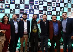 Celebrity guests spotted together in a picture at the movie premiere of Azad.