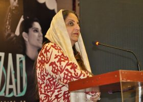 Mrs Shanaz Ramzi, hosting the press conference held for the upcoming movie, Azad.